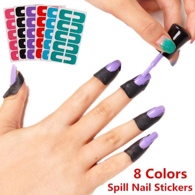 1pcs Multi Anti Overflow Nail Sticker Manicure 8 Color Stick U Type ...