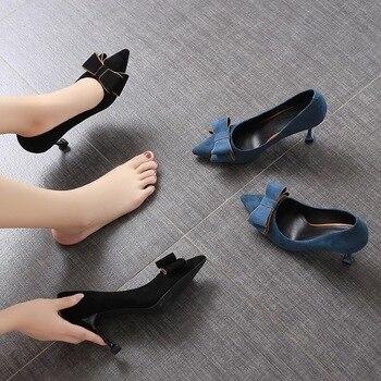 Cheap Black Shoes | SMTZZJ 2019 Limited Cheap Wholesale Women 6cm 8cm 10cm Black Blue Flock High Heels Pumps Shoes Fashion Pointed Party Shoes Lady