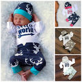 Newborn Baby Girl Boy Clothes Clothing  Deer Print Tops Romper Pants Leggings + Hat Coming Home Outfits SetSet 0-24M