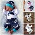 Newborn Baby Girl Boy Ropa Ropa Deer Imprimir Tops Mameluco Pantalones Leggings + Sombrero Trajes SetSet Coming Home 0-24 M