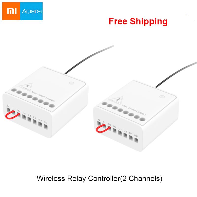 100% Original Xiaomi Mijia Aqara Two-way Control Module Wireless Relay Controller 2 Channels Work For Mijia APP And Home Kit
