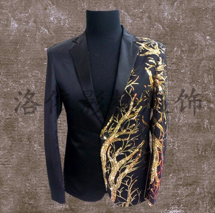 Men Suits Designs Masculino Terno Stage Costumes For Singers Men Sequin Blazer Dance Clothes Jacket Style Dress Punk Rock Black