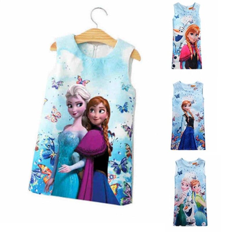 цена на Hot Sale Summer Baby Girl Dress For Girls Princess Vestidos Fever 2 Anna Elsa Dress Butterfly Print Party Dress Kids Costume