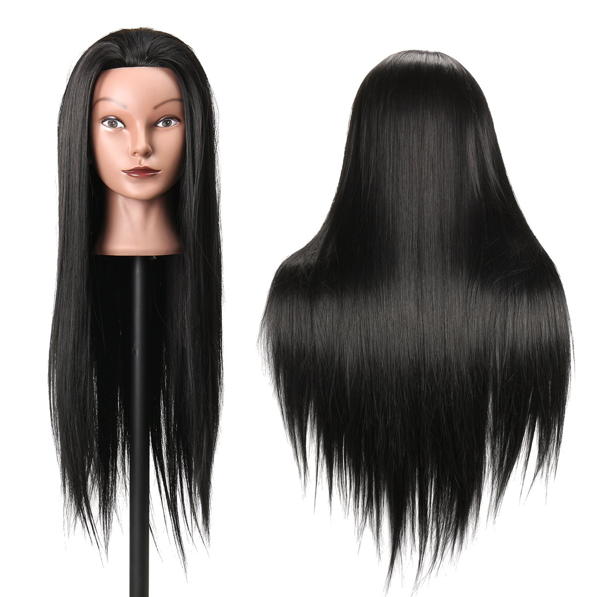 Hearty Synthetic Mannequin Head Female Hair Head Doll 22 Inches Mannequin Doll Head Hairdressing Training Heads Styling With Fiber Hair Extensions & Wigs