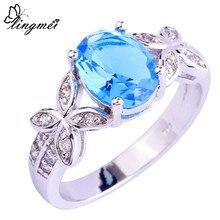 Lingmei color del centelleo de la mujer azul blanco cz de plata tamaño del anillo 7 8 9 10 Amor Romántico Brillante Estilo Nueva Joyería venta al por mayor