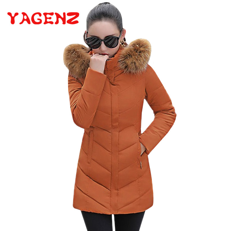 YAGENZ Winter Jacket Women Parka Overcoat Long Wadded Coat Fur collar Removable Hooded Cotton padded Coat Ladies Down Jacket 175