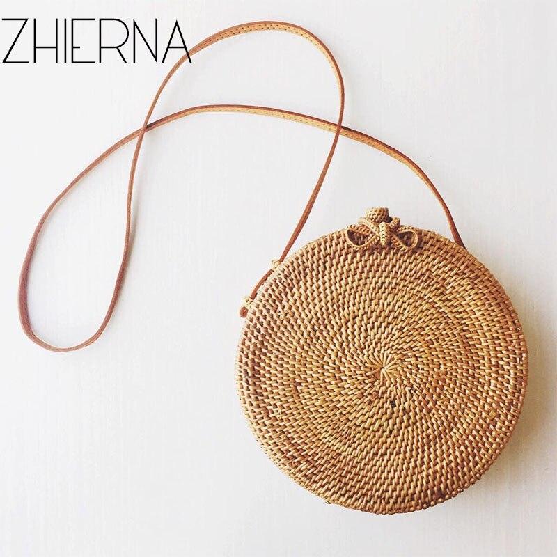 ZHIERN Summer Vintage Handmade Kintted Crossbody leather shoulder bag Beach Circle Straw Bags Women Rattan Bag Bohemian Handbags