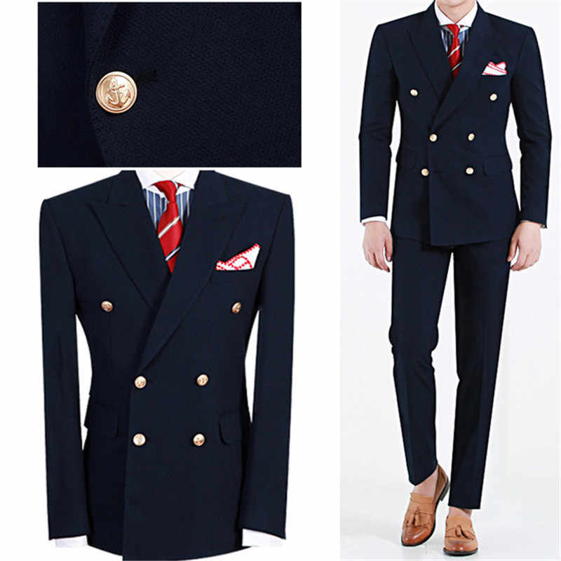 Summer Navy Blue Mens Dinner Party Prom Suit Groom Tuxedos Groomsmen Wedding Blazer Suits For Men Stylish (Jacket+Pants)