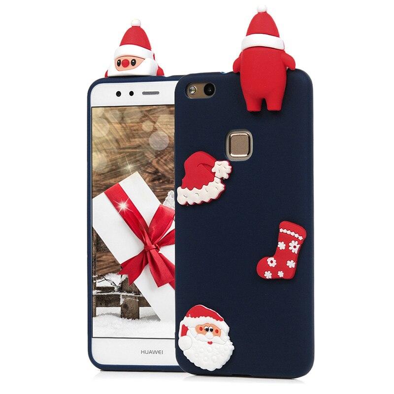 3D Christmas Santa Case For Huawei P8 Lite 2017/P10/P10 Lite Cartoon Phone Cover Soft Silicone Back Lying Animal Fundas