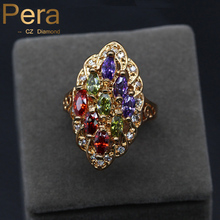 Trendy Gold Color Jewelry Multi Colorful Stone Oval Shape CZ Simulated Daimond Pave Engagement Party Finger Ring For Women R017