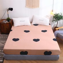 New Fitted Sheet On Elastic Band Mattress Cover with All-around Elastic Rubber Band Printed Bed Sheet(China)