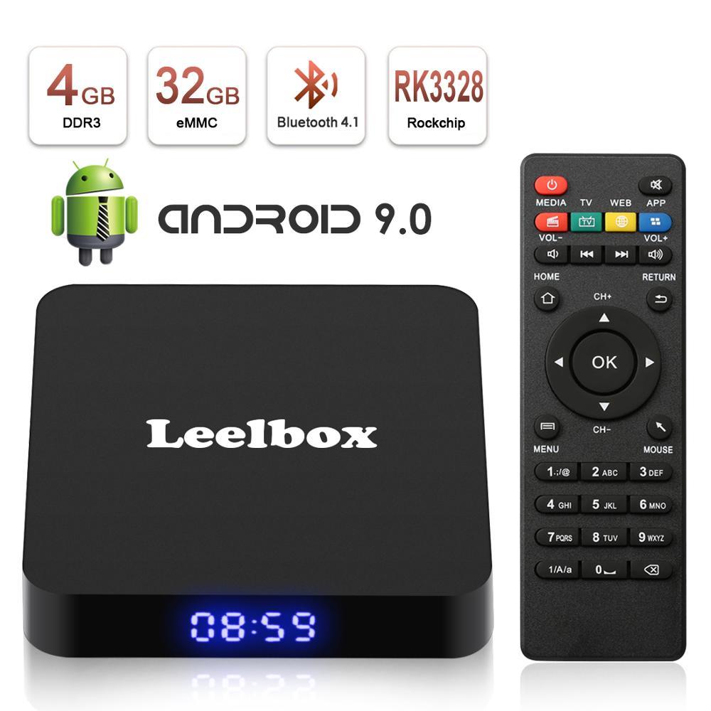 Leelbox Q4 Rockchip 3228 Quad Core Smart TV Box 4 GB 32 GB Android 9.0 TV 4 K décodeur 2.4 GWiFi Box Q4 lecteur multimédia pour Smart TV