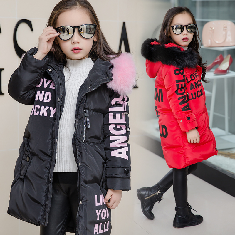 Kids Down Jackets Teenage Girls Outerwear Children Warm Winter Clothing Parkas &Coats For 4-13 Years 2017 Winter Jacket
