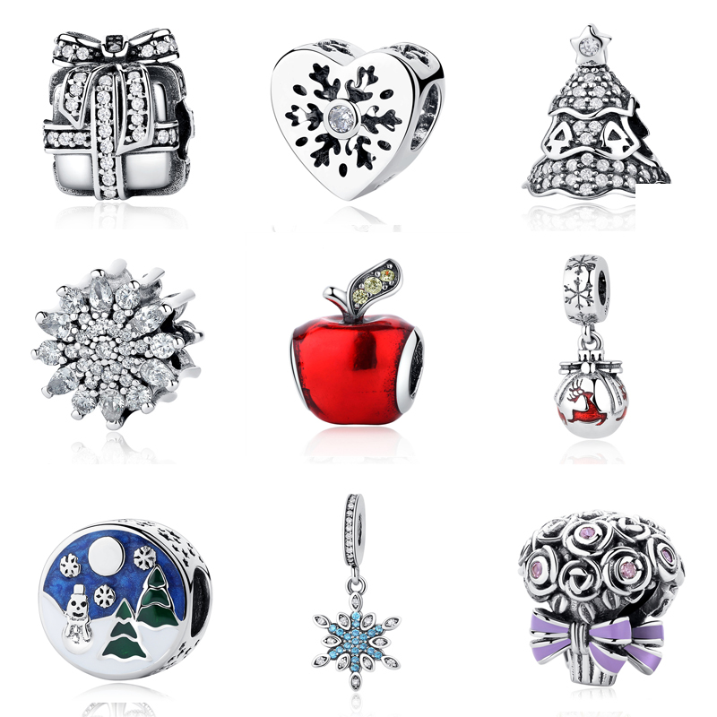 2018 Christmas Gift Style tree 925 Sterling Silver Charm Pendant Beads Fit Original Pandora Charm DIY Bracelet Jewelry Wholesale