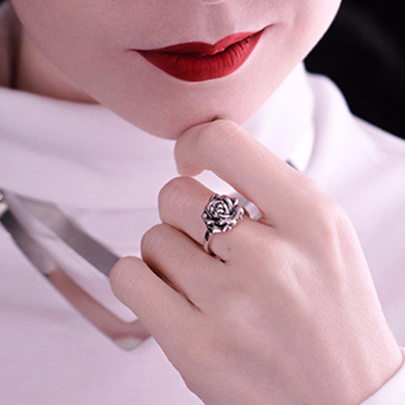 Tardoo 925 Sterling Silver Rose Rings for Women Romantic Flower Adjustable Open Rings Bridal Wedding Band Rings Fine Jewelry