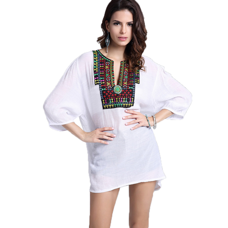 Women Blouse Shirt Half Sleeve Casual Embroidery Shirts O neck Solid Cotton Linen Blouses Women Summer Tops Tees Blusas 2018