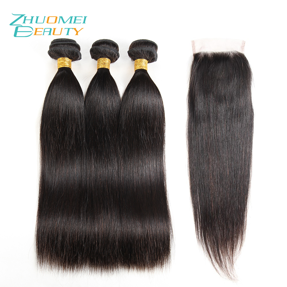 Zhuomei BEAUTY 3 Bundles Human Hair Weave Bundles With Lace Closure 100% Remy Hair Peruvian Straight Hair Bundles With Closure ...