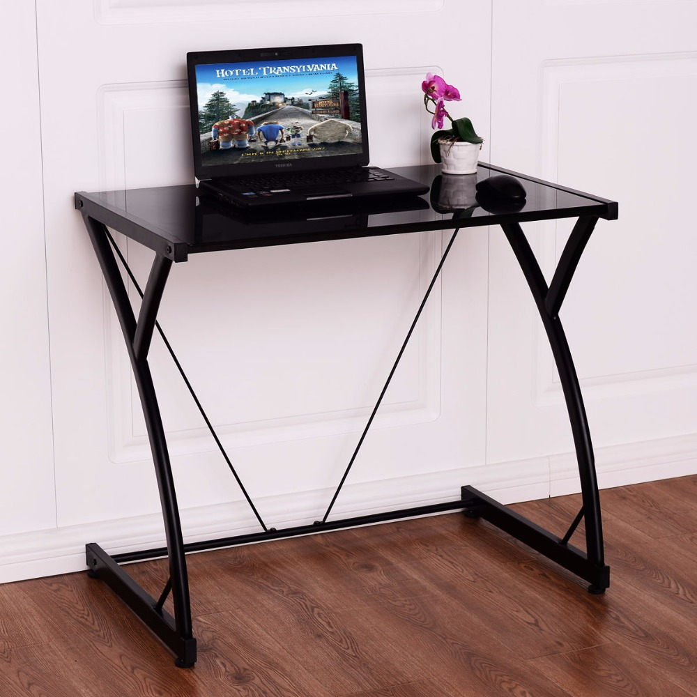 Goplus glass top computer desk pc laptop table writing - Computer and study table designs for home ...