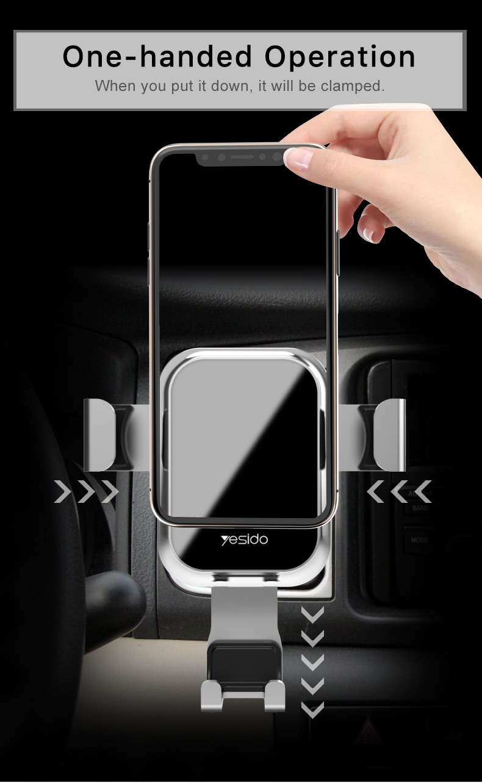 Tempered Glass Gravity Car Phone Holder Air Vent Car Mount Holder (3)