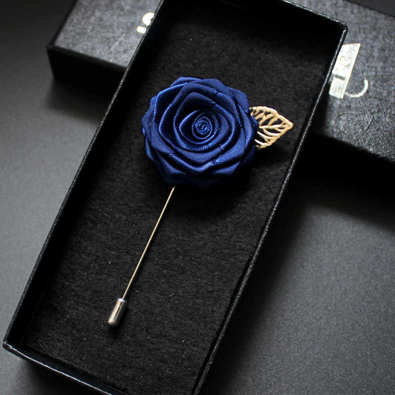 3c2489d5a26 Men Women Romantic Ribbon Neck Lapel Pin Brooch Groom Bride Wedding Suit  Party Rose Flower Brooches