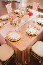 2017 Rose Gold Rectangle Sequin Tablecloth 5PCS 90x132inch,Wedding Table  Cloth,Sparkle Sequin Linen