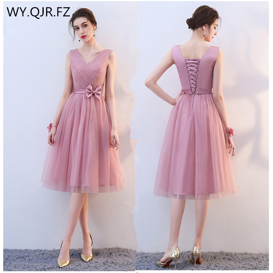 KBS031#Bean paste short lace up V-neck Bow   Bridesmaid     Dresses   Bre wedding party prom   dress   2018 wholesale cheap clothing