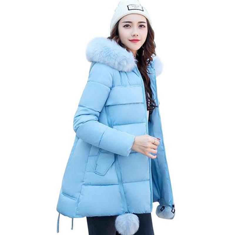 New Coats & Jackets 2017 Hooded Winter Jacket Women Artificial Fur Collar Winter Coat Women Long thicker Coat Plus Size S-3XL