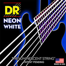 DR K3 Hi-def Neon White Luminescent Acoustic Guitar Strings, Custom Light 11-50 or Light 12-54 dr strings nmcb 40 nmcb 45 nmcb5 45 dr k3 neon bass guitar strings light multi color