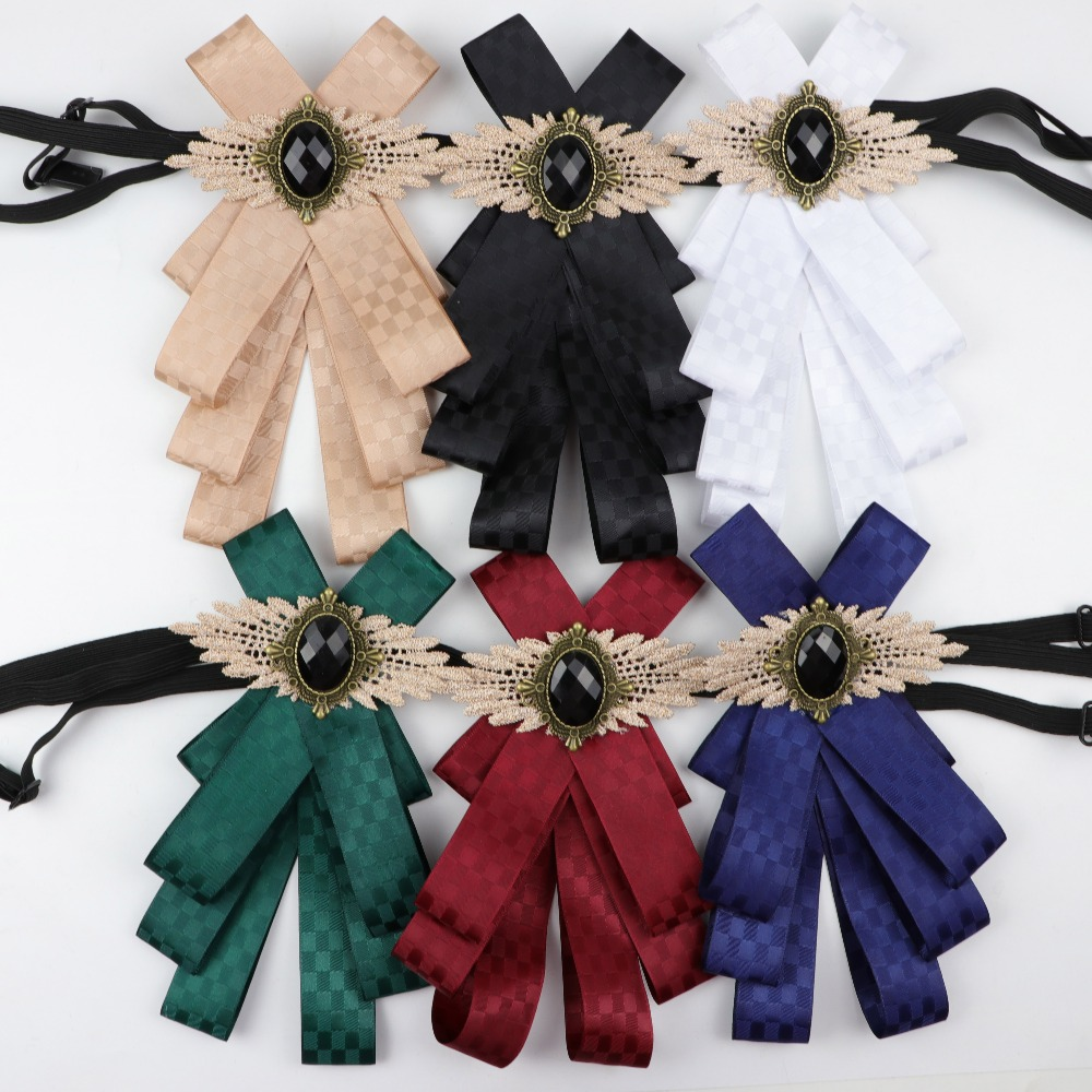 Gorgeous Bow Tie Vintage Cameo Lady Head Diamod Ribbon Tassel Brooch Chic Girls Elegant Costume Jewelry Collar Pin Girl Cravat