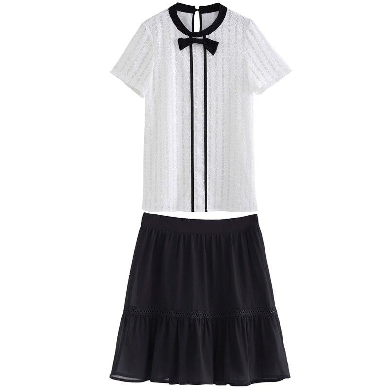 Abiti Eleganti Twin Set.2018summer Office Ladies Twinset Elegant Dress Set Bow Lace Tops