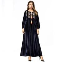Embroidery muslim dresses muslim gown long dresses M 4XL size velvet women's dresses muslim clothing arab robe 5279