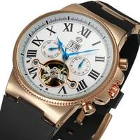 Forsining Tourbillon automatyczny zegarek mechaniczny pasek silikonowy różowe złoto sprawa cyfra rzymska wyświetlacz człowiek zegary Relogio Masculino w Zegarki mechaniczne od Zegarki na