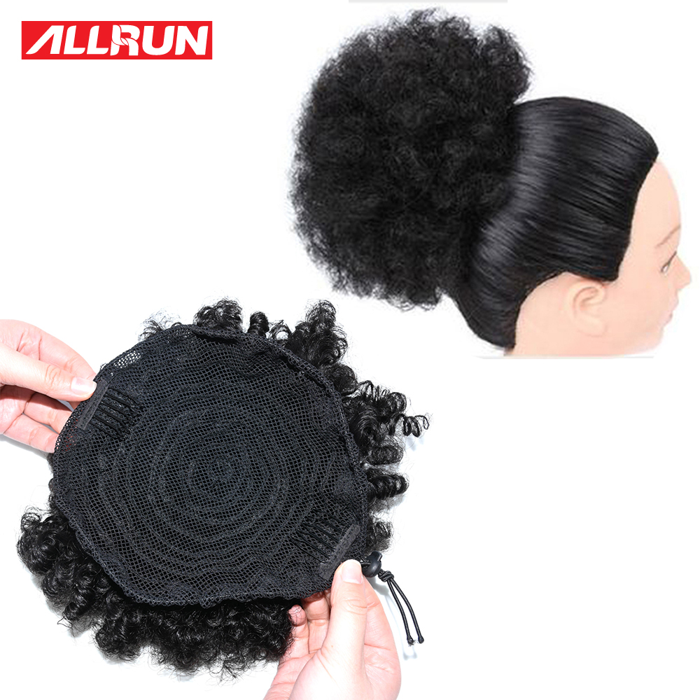 Afro Kinky Curly Ponytail For Women Natural Black Remy -2161