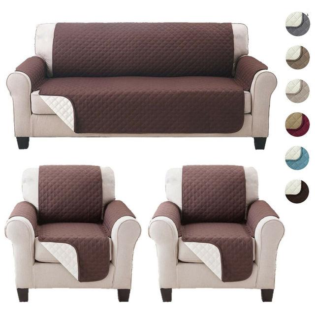 2020 新しいソファカバーキルティングスロースリップカバーソファ家具プロテクターペット可逆洗える脱着式アームレストの slipcovers