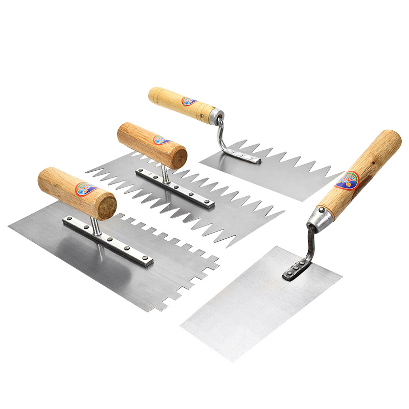 High Quality Wood Handle Plaster Trowel Sawtooth Plaster Plastering Finishing Trowel Steel Blade Tile Tool