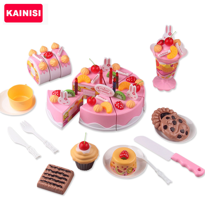 Marvelous 75Pcs/ Set Plastic Kitchen Cutting Toy Birthday Cake Pretend Play Food Toy Set  Gift For