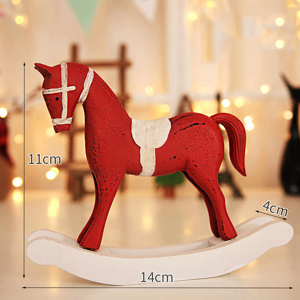 Christmas Horse.Rocking Horse Gift Large Traditional Wooden Decorative Christmas Wooden Baubles Rocking Horse Ornament Xmas Decoration 29x29cm