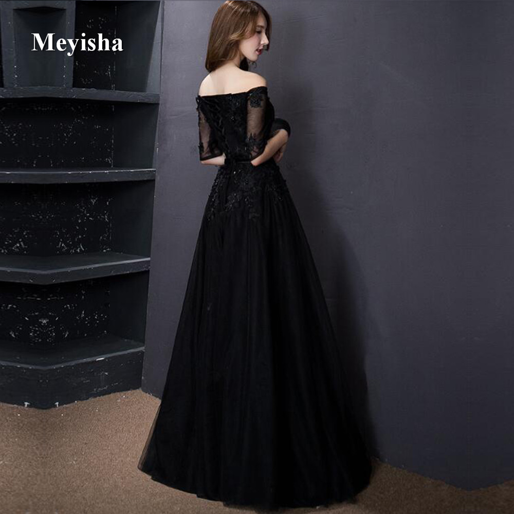 ZJ7011 Elegant Black Appliques A Line Long Lace Tulle Prom Dresses 2018  Plus Size Evening Party Gowns Customer Made-in Prom Dresses from Weddings    Events ... 92fd4f460c0c