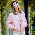 BringBring 2017 Moda Primavera e No Outono Rosa Mulheres Jaqueta Bomber Casual Solto Exército Verde Casacos Grossos 5 Cores Outwear 1562