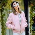 BringBring 2017 Moda Primavera y Otoño Pink Bomber Jacket Women Casual Ejército Loose Verde Gruesas Chaquetas Outwear 5 Colores 1562