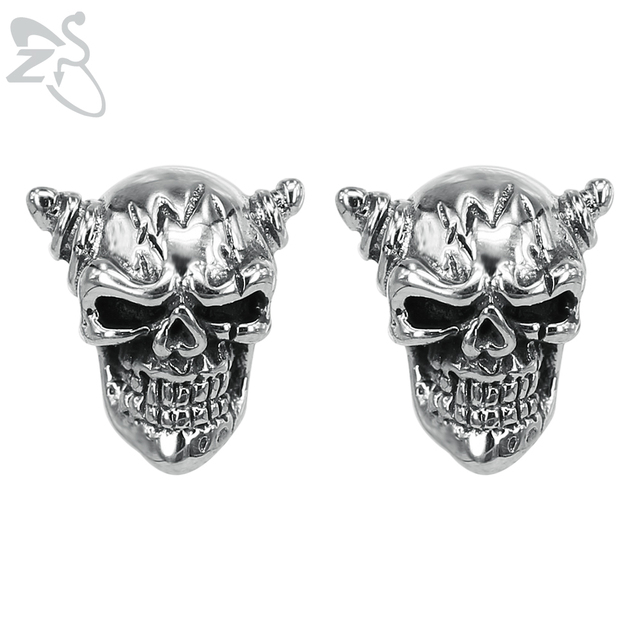 316l Stainless Steel Head Skull Stud Earring For Man Cool Punk Male Earrings Studs Personality Style