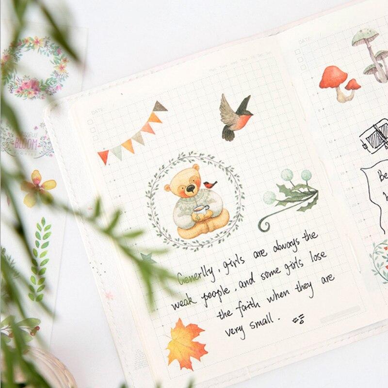 Купить с кэшбэком 6pcs/lot kawaii forest animals children Paper diy  Decorative Sticker Diary Album Label Sticker Scrapbooking Sticker Stationer