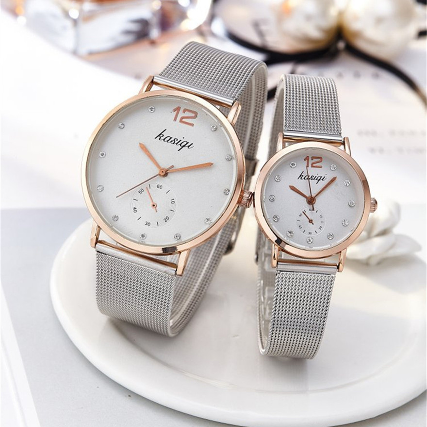 Stainless Steel Rhinestone Couple Watches Man And Ladies 2019 Luxury Quartz Wristwatch For Lovers Unisex Watch Montres Femme Hot(China)