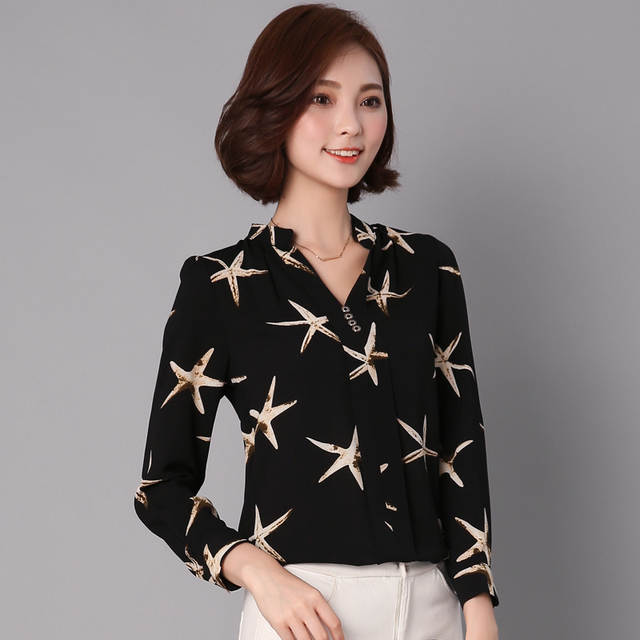 9ea814b9a53 placeholder 2016 Autumn Sea Star Printed Women Chiffon Blouse V-Neck  Buttons Long Sleeve Shirts Ladies