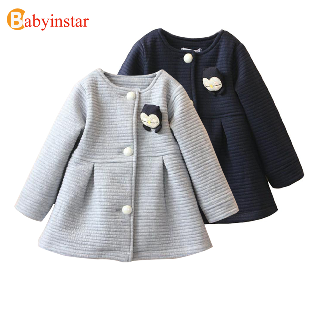 New Winter New Girl Coats Long Sleeve Baby Girl Jackets Single Row Button Kid Coats Cotton Bow-Knot Girl Jackets and Coats