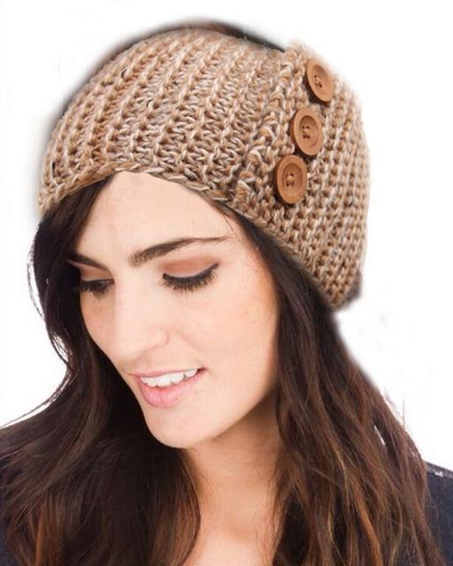 Botón de diseño de punto diadema sombrero del ganchillo head ...
