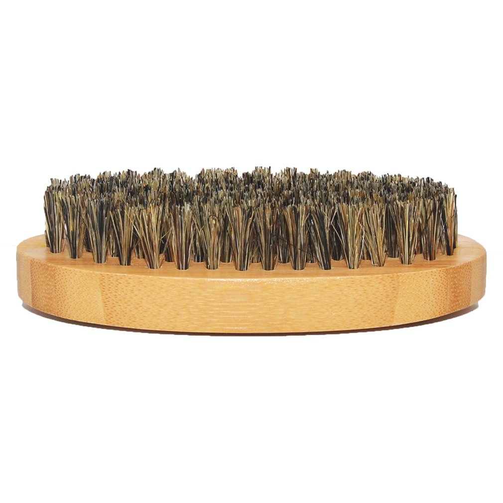 Men Boar Hair Bristle Beard Mustache Brush Hard Round Wood Handle Comb Shaving Brush