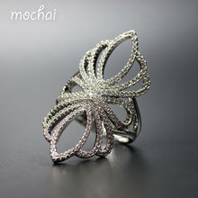 2016 Famous Brand Hot Design Exaggerated AAA Cubic Zirconia Hollow Big Flower Long Pary Rings For Women Jewellery Wholesale ZK30