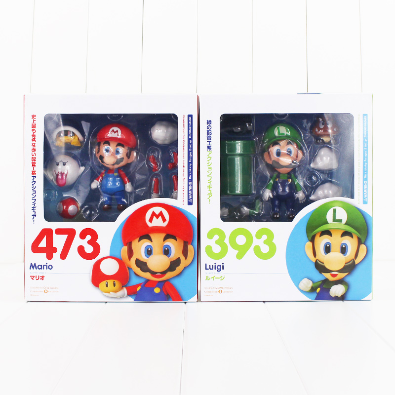 Nendoroid Super Mario Bros Figure Toy Mario 473 Luigi 393 With Toad Mushroom Goomba Ghost Bullet Great Model Doll for Kids super mario bros bowser princess peach yoshi luigi toad goomba pvc action figure toy model
