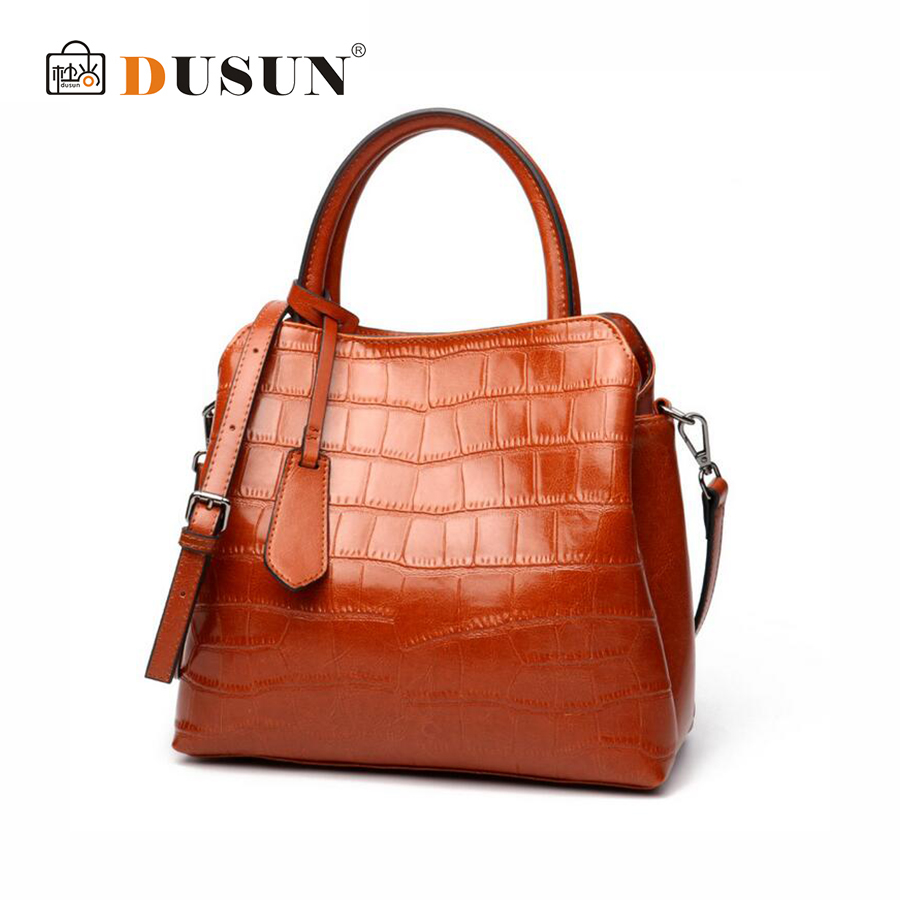 DUSUN Women Fashion Genuine Leather Handbag Soft Cow Leather High capacity Shoulder Bags Autumn Winter Messenger Bag Female Tote high quality cow leather women bags genuine leather shoulder bags soft messenger solid zipper fashion bag lady tote